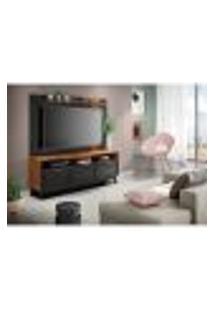 Rack Com Painel Extensível Para Tv Até 60 Polegadas Olinda Noce Milano E Preto Fosco 180 Cm