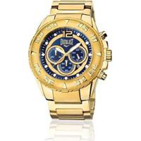 15756bc945d Relógio Everlast Cronógrafo Cx E Pulseira Aço Masculino - Masculino -Dourado+Azul