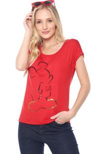 Blusa Cativa Disney Mickey Paetê Vermelha