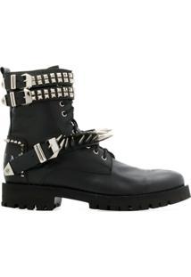 Philipp Plein Studded Ankle Boots - Preto