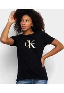 Blusa Calvin Klein Slim Logo Ck One Feminina - Feminino-Preto