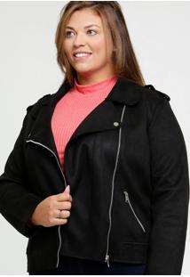 Jaqueta Feminina Suede Biker Bolsos Plus Size Marisa