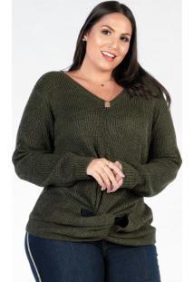 Blusa De Tricot Plus Size Verde Transpassado