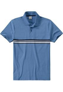 Camisa Azul Claro Polo Slim Listras Malwee