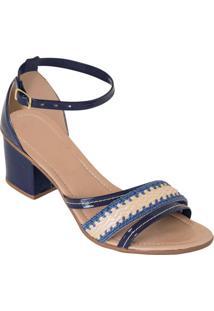 Sandália Azul Salto Quadrado