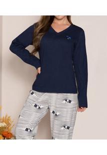Pijama Longo Listrado Coelho Pzama (40012) 100% Algodão