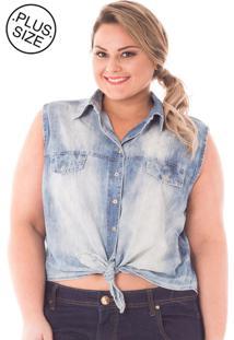 Camisa Feminina Cropped Em Jeans Amarrada Plus Size