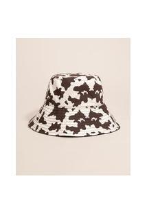Chapéu Bucket Hat Estampado Animal Print Vaca Mindset Preto