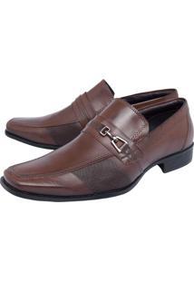 Sapato Social Valecci Detalhe Metalizado Marrom