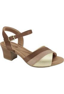 Sandália Com Recortes- Marrom Claro & Dourada- Saltocomfortflex