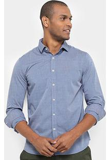Camisa Manga Longa Jab Slim Fit Premium Masculina - Masculino-Azul