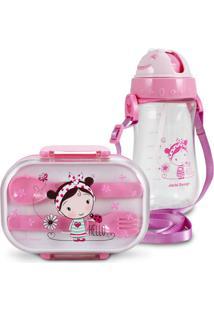 Conjunto Pote Para Lanche E Squeeze Infantil Menina Morena Jacki Design Pequeninos Rosa
