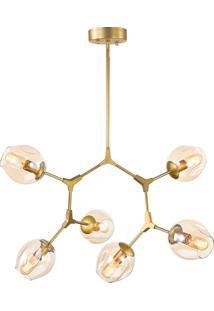 Lustre Em Metal E Vidro Com 6 Braços 5715 - Mart - Dourado
