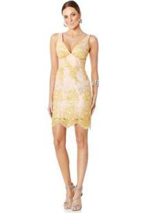 Vestido Lala Dubi Curto Flores Feminino - Feminino-Amarelo