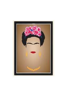 Quadro Caixa Decorativo 23X33Cm Nerderia E Lojaria Frida Marrom Preto