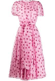 Dolce & Gabbana Vestido Translúcido Com Poás - Rosa