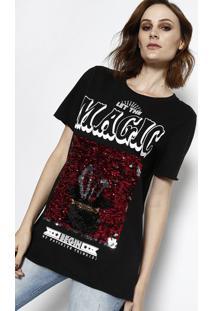 Camiseta Com Paetês - Preta & Rosa - My Favorite Thimy Favorite Things