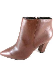 Bota Cano Curto Sapatoweb Salto Marrom