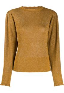 Isabel Marant Ruched Shoulders Crew Neck Jumper - Dourado