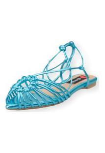 Sandalia Love Shoes Rasteira Bico Folha Amarraçáo Tirinhas Metalizado Azul