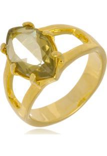 Anel Le Diamond Pedra Rutilo Dourado