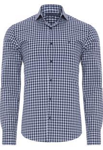 Camisa Masculina Micro Vichy - Azul