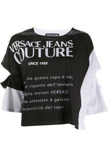 Versace Jeans Couture Blusa Branca Com Estampa Gráfica E Recorte Vazado - Branco