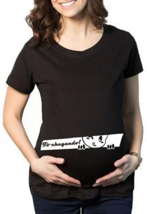 Camiseta Criativa Urbana Grávida Gestantes Frases Engraçadas Espiando - Feminino