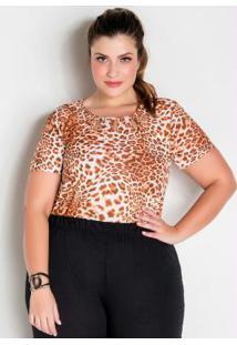Blusa Onça Com Vazados No Decote Plus Size