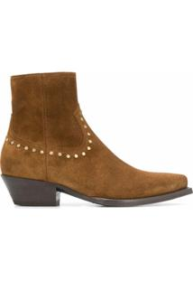 Saint Laurent Ankle Boot Lukas Com Tachas - Marrom