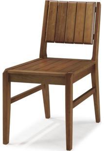 Cadeira Em Madeira Maciça Angra Casa E Jardim Móveis - Caixa Com 2 Unidade - Verniz Castanho