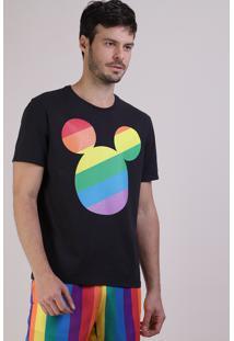 Camiseta Masculina Pride Mickey Arco-Íris Manga Curta Gola Careca Preta