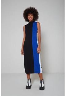 Vestido Oh, Boy! Recortes Midi Color Feminino - Feminino-Preto+Azul