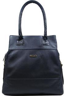 Bolsa Em Couro Recuo Fashion Bag Totem Azul/Croco