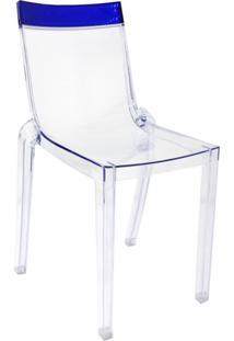 Cadeira De Jantar Glam Cristal Topo Azul