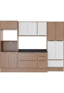 Cozinha Compacta Calábria 13 Portas Nogueira E Branco Multimóveis