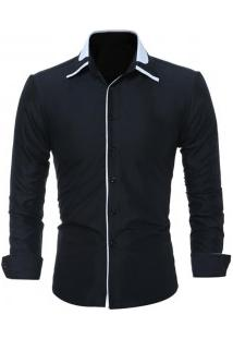 Camisa Masculina Slim Fit Manga Longa - Preto