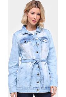 Jaqueta Jeans Parka Ecxo Estonada Faixa Feminina - Feminino-Azul Claro