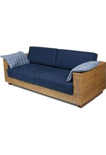 Sofa Salinas 3 Lugares Assento Cor Azul Marinho Com Base Madeira Revestida Em Junco - 44785 - Sun House