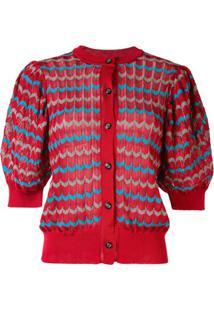 Kolor Cardigan Com Mangas Bufantes - Vermelho