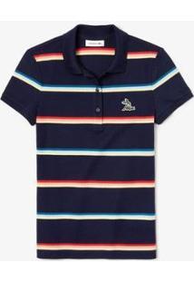 Camisa Polo Lacoste Feminina - Feminino-Azul Navy