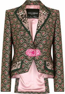 Dolce & Gabbana Blazer De Jacquard Com Estampa Floral - Preto