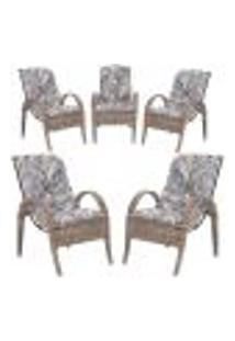 Cadeiras 5Un P/ Jardim Lazer Edicula Varanda Descanso Fibra E Tramas Napoli Plus Argila A13