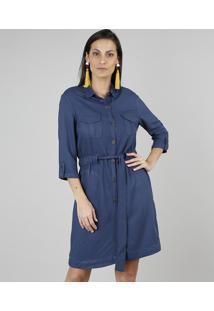 Vestido Chemise Feminino Com Bolsos Manga 7/8 Azul Marinho