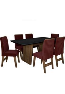 Conjunto De Mesa Para Sala De Jantar Com 6 Cadeiras Vigo -Dobuê Movelaria - Castanho / Preto / Vinho Bord