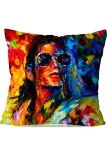 Capa De Almofada Avulsa Decorativa Pop Art Michael Jackson 35X35Cm