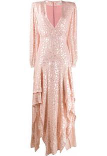 Stella Mccartney Vestido Longo Com Bordado - Rosa