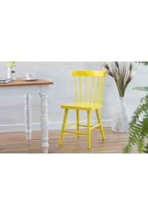 Cadeira Para Restaurante De Madeira Folk Laqueado Amarelo 45X46X83Cm