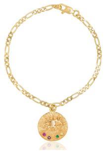 Hermina Athens Pulseira Eye Coin Banhada A Ouro - Metallic