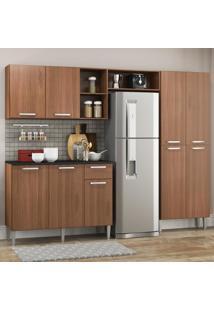 Cozinha Completa Compacta Pequim Up Multimã³Veis Com Balcã£O - Madeirado - Incolor/Marrom - Dafiti